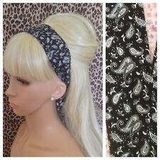 BLACK WHITE PAISLEY PRINT HEAD BAND HAIR SCARF SELF TIE BOW 50s 60s RETRO STYLE