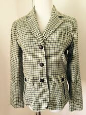 TALBOTS Herringbone Plaid Check Wool Jacket Coat Blazer Equestrian Green Sz 4