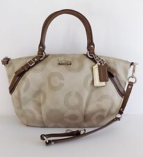 NWT Coach 15957 Madison Dotted OP Art Sophia Satchel ~ Khaki/Mahogany