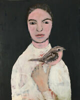 Portrait & Animal Painting Never Truly Alone Wren Bird Katie Jeanne Wood