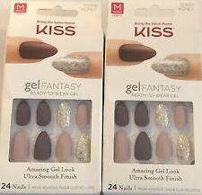 Lot of 2, Kiss Gel Fantasy Ready-To-Wear Gel Medium Nails, KGN07 Rush Hour