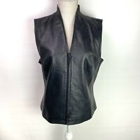 Mixit Womens Soft Leather Black Vest Lined Zipper Size 14