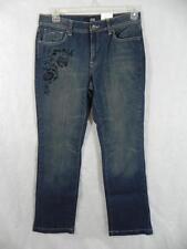New ANA sz 10 Stretch Denim Jeans 32x31 Boho Velvet Flowers Straight Leg NWT i36