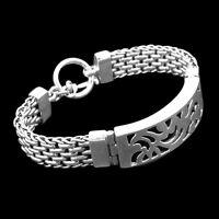 HEAVY Bali Handmade Solid Sterling Silver Designer TAG Bracelet