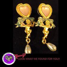 """""""JJ"""" Jonette Jewelry Gold Pewter 'Angel Heart Pearl' Earrings 2""""X 2"""" FREE SHIP"""