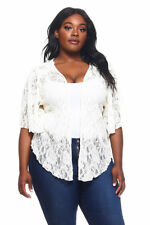 Womens Plus Size 4X Ivory Soft Lace Cardigan Bolero Shrug Top
