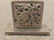 6 Christmas Placecard Holders Square Bird Design Vintage Metal  New with tags
