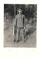 Postcard WW1 Unknown Regiment Soldier Harry Thomas with Rifle SMLE Army RPPC 5a