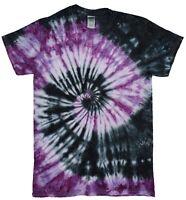 Black & Purple Spiral TIE DYE T SHIRT Festival Rainbow Top Tee Tye Die Tshirt