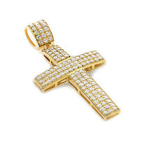Solid 14K Yellow Gold Cubic Zirconia CZ Pave Style Cross Pendant