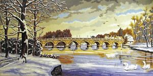 THE VILLAGE BRIDGE IN WINTER needlepoint tapestry to stitch- WOOL & CANVAS KIT