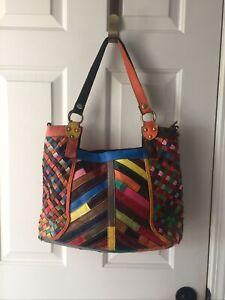 Ameri Leather  multi-color Patchwork woven Handbag Tote