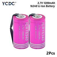 2Pcs Rechargeable Li-ion 16340 Battery 3.7V 1200mAh CR123A For LED Flashlight A