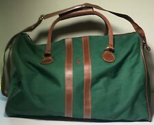 POLO RALPH LAUREN Medium green canvas/leather duffle bag AUTHENTIC