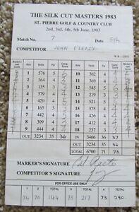 CALVIN PEETE SIGNED TOURNAMENT SCORECARD AS MARKER 1983 SILK CUT MASTERS