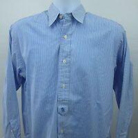 Polo Ralph Lauren Womens Slim Fit Blue White Striped Dress Shirt Size 12 RL Flap