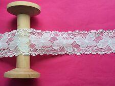 60mm White Butterfly Stretch Lace Wedding Ribbon Trim - Metre