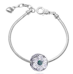 Charms Flower Ladies Bracelet Bangle Green Spacer Rhinestones Silver B216