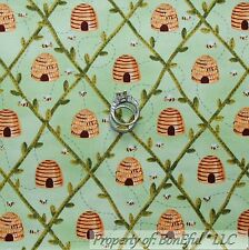 BonEful Fabric FQ Cotton Quilt Green Yellow Brown Honey BEE Hive Leaf Country US