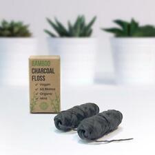 PlanetNatura bamboo dental floss 60m refills. Charcoal Infused. Biodegrade vegan