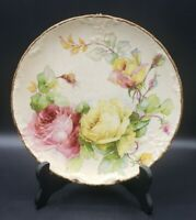 "Etruria Mellor & Co. 8.5"" Plate with Colorful Cabbage Roses & Gold Trim"