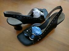 JOHN FLUEVOG HI CHOICE: MEGHAN 12 BLACK HEART HEEL SLINGBACK SANDALS PUMPS SHOES