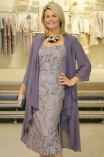 Elegant Mother Of The Bride Dress New Gray Lace With Chiffon Jacket Custom Made
