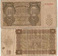 CROATIA 10 KUNA 1941 BANKNOTES
