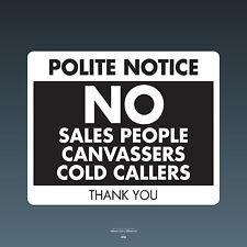 SKU70 Stop Cold Calling Door Sticker No Canvassers Callers Sign - 150mm x 120mm