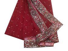 Om Vintage Dupatta Bridal Hand Beaded Maroon Scarves Stole Veil Hijab XAD1262