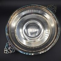 Vtg English Silver MFG Corp Silverplate Footed Pie Plate Serving Casserole Dish