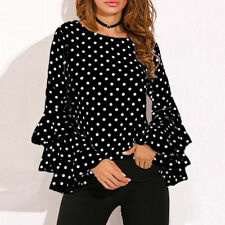 Fashion Women Bell Sleeve Loose Polka Dot Shirt Ladies Casual Blouse Tops Plus
