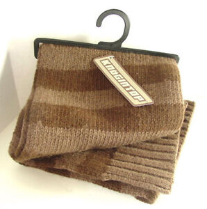 KNOGINTOP Brown Stripes Knitted Warm Winter Wool Cotton Blend Scarf NEW NWT