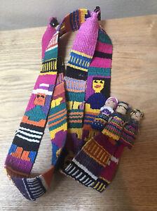 Vintage 90s Amigos Woven Rainbow Sash Tie Belt Guatemala + Worry Doll Hair Clip