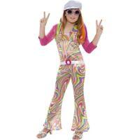 NEW Groovy Glam Childrens Girls 60's / 70's Hippie Fancy Dress Halloween Costume