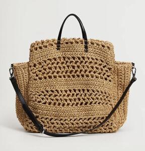 MANGO Holbox Raffia Handmade Large Bag Neutral Beige