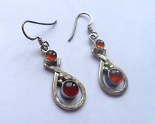 Boucles d'oreille argent massif ambre  silver 925 earrings amber