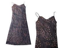elegantes langes Abendkleid Kleid Ballkeid mit Paillettenbesatz Gr. 40 /42 braun