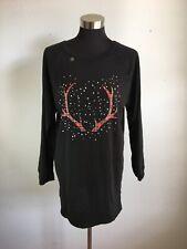 Victorias Secret Sleep Shirt S Small Black Plaid Reindeer Deer Horns Holiday