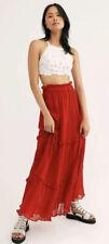 NEW Jen's Pirate Booty Baroque Maxi Skirt Size Medium Red Gauzy
