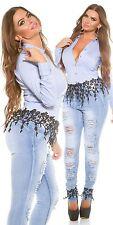 Curvy Girls KouCla Skinny-Jeans Damen Hose  Jeans mit Stickerei Spitze