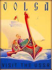 Volga River Russia Vintage Russian USSR Travel Advertisement Art Poster Print