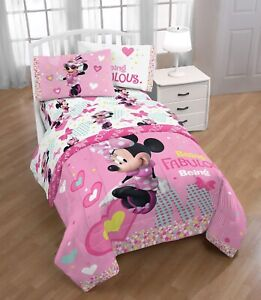 Disney Minnie Mouse 4 Piece Sheet Set, Pink and White Microfiber Full Size, NEW