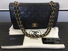 CHANEL Vintage Black Lambskin Medium Double Flap 24K Gold Hardware Shoulder Bag