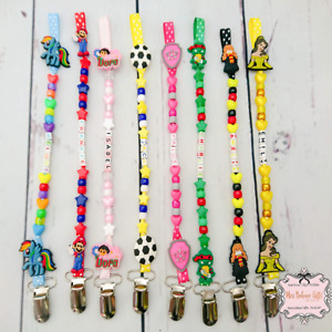 Character Personalised Dummy Clip Pacifier Holder or Bag Zip Clip Reborn Doll