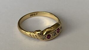 Antique Solid 18ct Gold Diamond & Ruby Five Stone Set Ladies Dress Ring 2.6grams