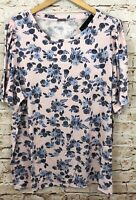 Lane Bryant womens 18/20 tee shirt top flutter sleeve floral new ruffle tunic A5