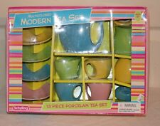 Vintage Schylling Multicolored Modern Tea Set 13 pieces Complete Never Used in O