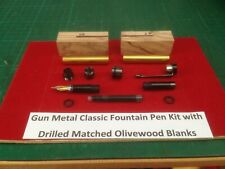 Classic Fountain Pen Kit in Gun Metal with Matched Drilled Olivewood Blanks