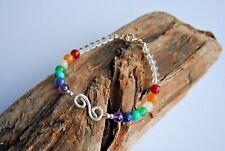 7 Chakra Bracelet Crystal Stones Silver Healing Beads Jewelry Reiki Anxiety
